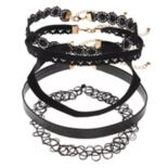Mudd® Lace, Faux Leather & Tattoo Choker Necklace Set