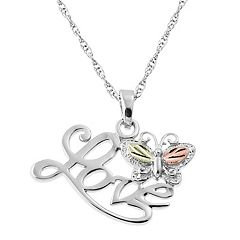 Black Hills Gold Tri Tone Butterfly 'Love' Pendant in Sterling Silver