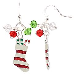 Christmas Stocking Nickel Free Drop Earrings