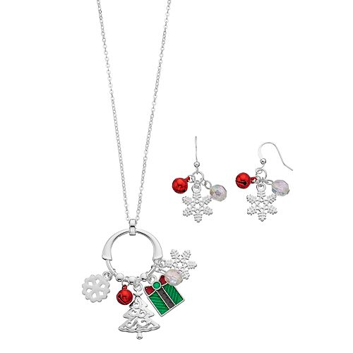 Snowflake, Christmas Tree & Gift Charm Necklace & Drop Earring Set