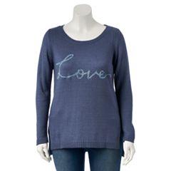 Plus Size LC Lauren Conrad Lace-Up Crewneck Sweater