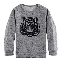 Boys 4-7x SONOMA Goods for Life™ 3D Textured Tiger Marled Pullover Sweatshirt