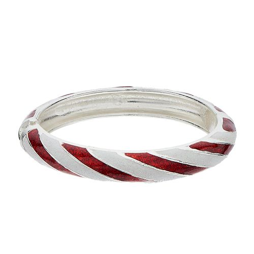 Candy Cane Striped Bangle Bracelet