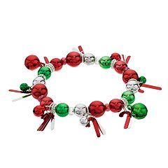 Christmas Bead & Candy Cane Stretch Bracelet