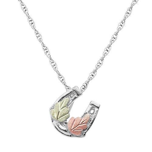 Black Hills Gold Tri Tone Leaf Horseshoe Pendant in Sterling Silver