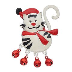 Silver Tone Holiday Cat & Bell Pin