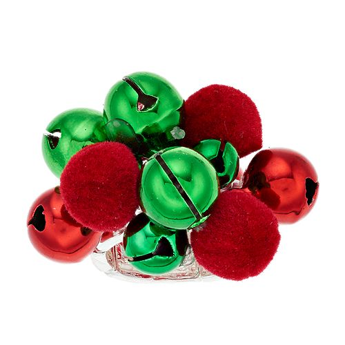 Red & Green Jingle Bells Stretch Ring