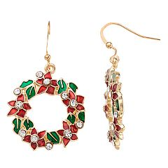 Christmas Wreath Nickel Free Drop Earrings