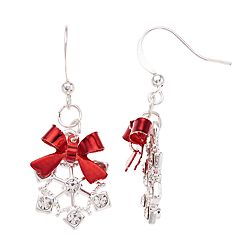 Snowflake & Bow Nickel Free Drop Earrings