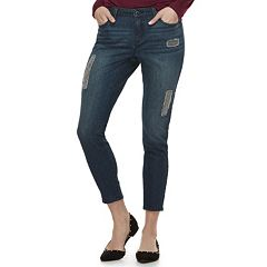 Women's Jennifer Lopez Embellished Distressed Skinny Ankle Jeans