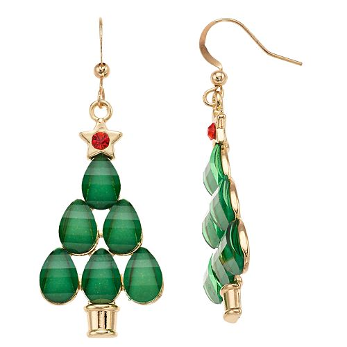 Christmas Tree Nickel Free Drop Earrings