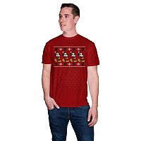 Big & Tall Disney's Mickey Mouse Snowflake Santa Holiday Tee