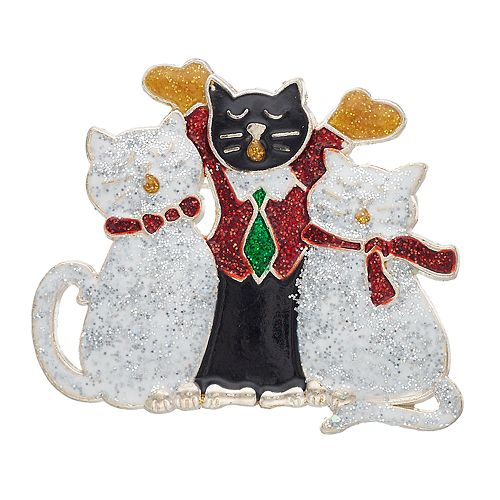 Silver Tone Holiday Cat Pin