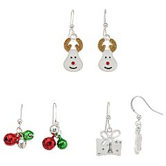 Reindeer, Present & Jingle Bells Nickel Free Drop Earring Set