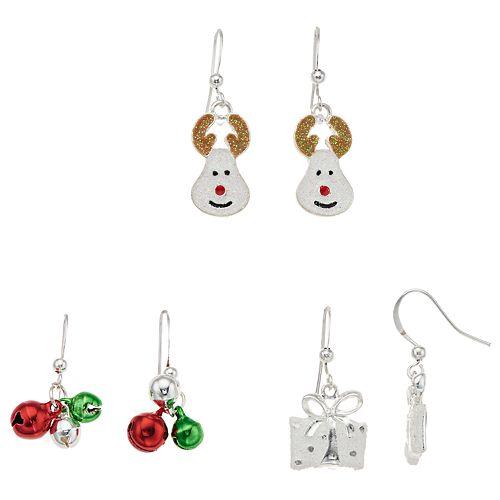 Reindeer, Present & Jingle Bells Nickel Free Drop Earring Set
