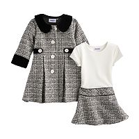 Toddler Girl Blueberi Boulevard Tweed Coat Set