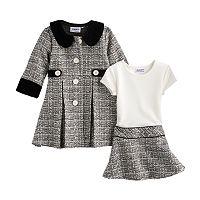Toddler Girl Blueberi Boulevard Tweed Coat Set