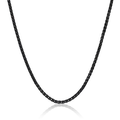 LYNX Men's Stainless Steel Black Ion Plated Wheat Chain Necklace