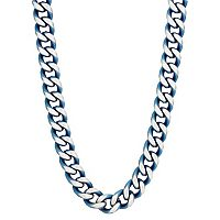 LYNX Men's Blue Ion Plated Stainless Steel Curb Chain Necklace