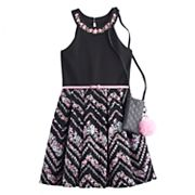 Girls 7-16 & Plus Size Knitworks Belted Flower Skater Dress with Crossbody Purse