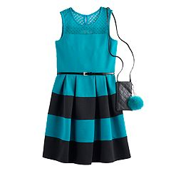 Girls 7-16 & Plus Size Knitworks Belted Textured Skater Dress with Crossbody Purse