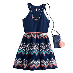 Girls 7-16 & Plus Size Knitworks Chevron Skirt Skater Dress with Necklace & Crossbody Purse