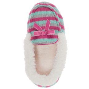 Dearfoams Patterned Sweater Knit Girls' Moccasin Slippers