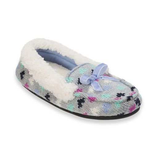 Dearfoams Patterned Sweater Knit Girls' Moccasin Slippers