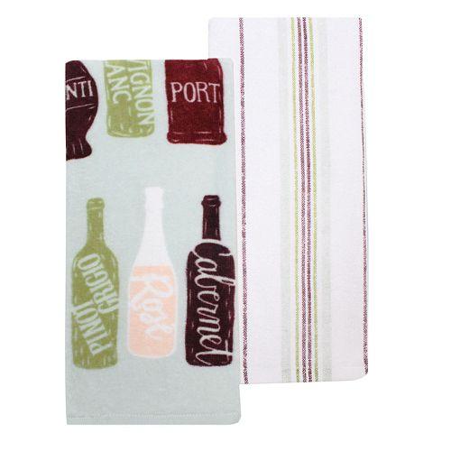 Food Network™ Wine Bottle & Striped Kitchen Towel 2-pack
