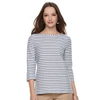 Petite Croft & Barrow® Striped Button Sleeve Tee