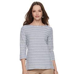 Petite Croft & Barrow® Textured Stripe Button-Sleeve Tee
