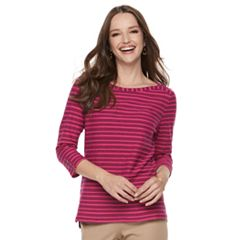 Petite Croft & Barrow® Textured Stripe Button-Sleeve Tee