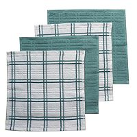 Food Network™ Solid & Plaid Dishcloth 4 pk