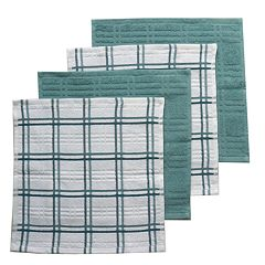 Food Network™ Solid & Plaid Dishcloth 4-pk.