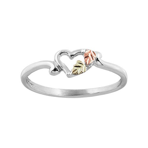 Black Hills Gold Tri Tone Leaf Heart Ring in Sterling Silver