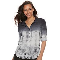 Women's Rock & Republic® Tie-Dye Roll Cuff Popover Top