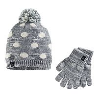 Girls Cuddl Duds Polka-Dot Pattern Knit Beanie Hat & Gloves Set