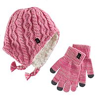Girls Cuddl Duds Sherpa-Lined Cable Knit Hat & Gloves Set