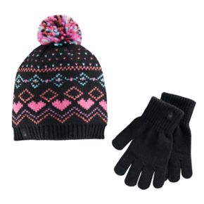 Girls Cuddl Duds Fairisle Pattern Knit Beanie Hat & Gloves Set