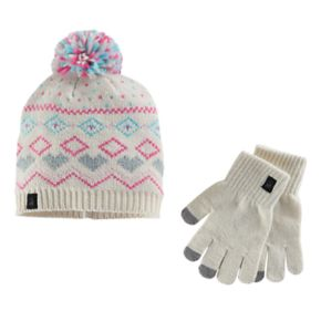 Girls Cuddl Duds Fairisle Pattern Knit Beanie Hat & Gloves Set