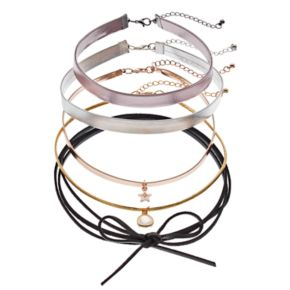 Mudd® Faux Leather Choker & Tie Necklace Set