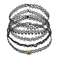 Mudd® Crescent & Beaded Tattoo Choker Necklace Set