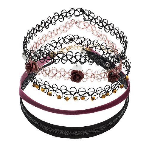 Mudd® Flower, Disc & Beaded Choker Necklace Set