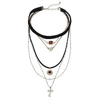 Mudd® Two Tone Cross Layered Necklace