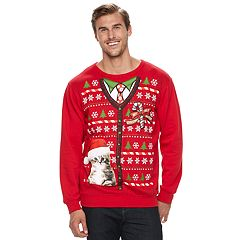 Big & Tall Kitty Kardigan Fleece Holiday Sweatshirt
