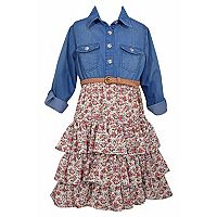 Girls 7-16 Bonnie Jean Chambray & Tiered Floral Shirtdress