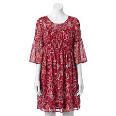 Women's LC Lauren Conrad Smocked Print Fit & Flare Dress