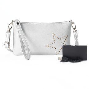 Perforated Phone Charging Crossbody Bag