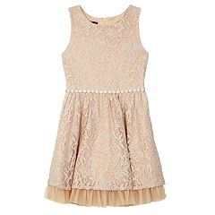 Girls 7-16 IZ Amy Byer Floral Lace Ruffle Tulle Hem Dress