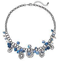 Blue Openwork Geometric Beaded Necklace